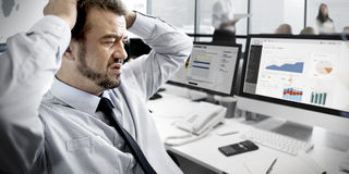 Businessman Stressful Finance Business Problem Concept Royalty Free Stock Photography