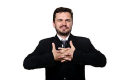 Businessman stretching. After a tiring work royalty free stock photo