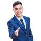 Businessman stretching out hand isolated. Stock Photo