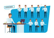 Businessman in strict work clothes, in various poses and positions. Stock Photo