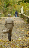 Businessman Strolls in the Park. Gray haired business man is walking on a wooded path.  It is autumn and leaves are on the ground Stock Photography