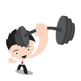 Businessman stronger and holding dumbbell,vector illustration in flat design on white background. Businessman stronger and holding dumbbell ,vector illustration Royalty Free Stock Photography