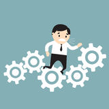 Businessman stuck in gears. Fail concept. Vector Illustration Royalty Free Stock Photography