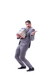 Businessman student carrying holding pile of books isolated on w Stock Photo