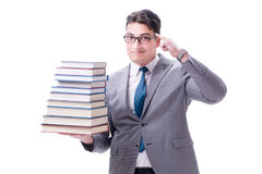 Businessman student carrying holding pile of books isolated on w. Hite background Stock Photography