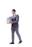 Businessman student carrying holding pile of books isolated on w. Hite background Stock Photo