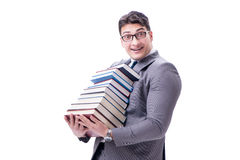 Businessman student carrying holding pile of books isolated on w. Hite background Royalty Free Stock Images