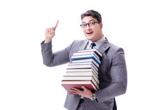 Businessman student carrying holding pile of books isolated on w. Hite background Royalty Free Stock Photo