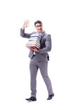 Businessman student carrying holding pile of books isolated on w. Hite background Stock Photos