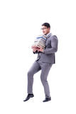 Businessman student carrying holding pile of books isolated on w. Hite background Royalty Free Stock Photos
