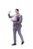 Businessman student carrying holding pile of books isolated on w Stock Photos