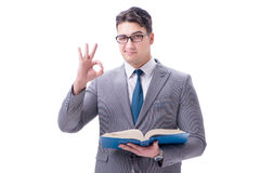 The businessman student reading a book isolated on white background Stock Image