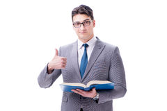 The businessman student reading a book isolated on white background Stock Photo