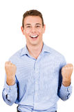Businessman or student winning and arms and fists pumped Stock Photos