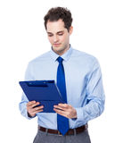 Businessman study the report Stock Image