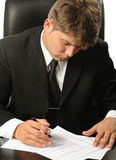 The businessman the studying contract before the s Stock Image