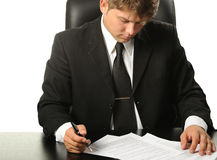 The businessman the studying contract before the s Royalty Free Stock Photography