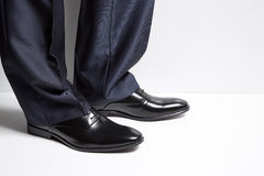 Businessman style. Fashion luxury leather shoes. Stock Photos