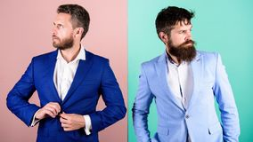 Businessman stylish appearance jacket pink blue background. Business people fashion and formal style. Business partners. With bearded faces. Business fashion royalty free stock image