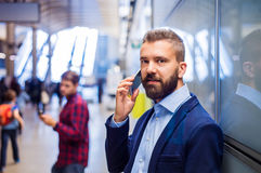 Businessman in subway Royalty Free Stock Photography