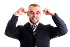 Businessman succesfull smile with hands up Royalty Free Stock Images