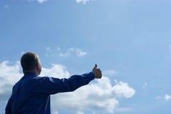 Businessman, success on blue sky Royalty Free Stock Photo