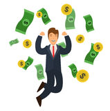 Businessman Success Concept Money and Golden Coin Falling. Vector. Businessman Success Concept Money and Golden Coin Falling. Flat Design Style. Vector Royalty Free Stock Photography