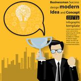 Businessman Success design modern Idea and Concept Vector illustration Infographic template with icon. royalty free illustration