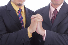 Businessman success discussion and job complete Royalty Free Stock Image
