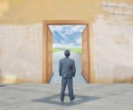 Businessman with success door stock illustration