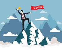 Businessman and Success flag on top of the mountain royalty free illustration