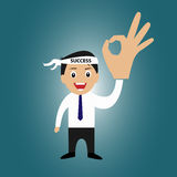 Businessman with success head band and ok sign Royalty Free Stock Image