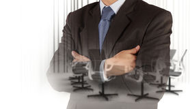 Businessman success with his board room background Stock Images