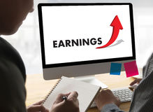 Businessman Success Increase GROWTH EARNINGS QUALITY Improve Yo Stock Image