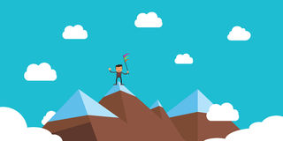 Businessman success on peak performance. Businessman with flag on top of mountain to show his successful life vector illustration