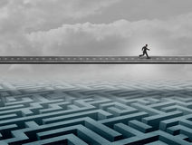 Businessman Success Road. Concept as a person running on a path over a complicated maze or labyrinth as a business solution metaphor with 3D illustration Royalty Free Stock Photography