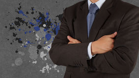 Businessman success with splash colors Stock Photos