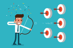 Businessman success in targets. Businessman success in targets, trendy cartoon Vector Stock Photos
