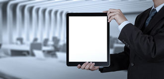 Businessman success working with blank tablet computer Royalty Free Stock Photo