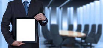 Businessman success working with blank tablet computer his board royalty free stock images
