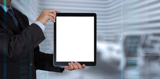 Businessman success working with blank tablet computer Royalty Free Stock Image