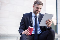 Businessman after successful deal Stock Photo