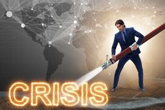 The businessman successfully dealing with crisis and recession. Businessman successfully dealing with crisis and recession stock photography