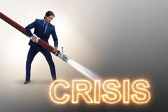 The businessman successfully dealing with crisis and recession. Businessman successfully dealing with crisis and recession royalty free stock images