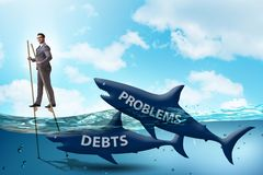 The businessman successfully dealing with loans and debts royalty free illustration