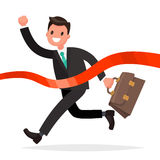 Businessman successfully finishes. Concept of victory in the str. Uggle. Vector illustration in a flat style Royalty Free Stock Photo