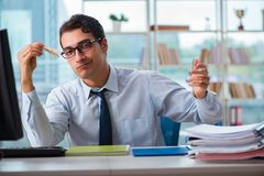 The businessman suffering from excessive armpit sweating. Businessman suffering from excessive armpit sweating Stock Images