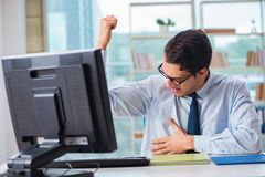 The businessman suffering from excessive armpit sweating. Businessman suffering from excessive armpit sweating Royalty Free Stock Image