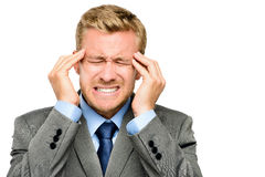 Businessman suffering from headache Royalty Free Stock Images