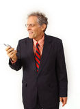 Businessman in a suit. Businessman in financial occupation with cell phone Stock Photos